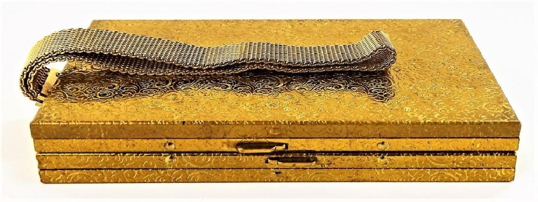 ENGRAVED VINTAGE GOLDTONE METAL CARRYALL CASE - 2