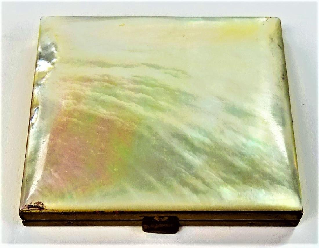 VINTAGE GOLDTONE METAL & MOTHER OF PEARL COMPACT
