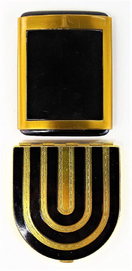 LOT OF 2 VINTAGE ENAMELED GOLDTONE METAL COMPACTS