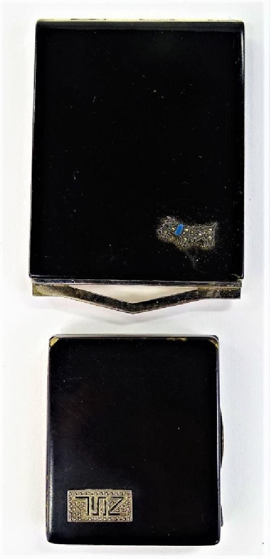 LOT OF 2 ART DECO ENAMELED METAL COMPACTS