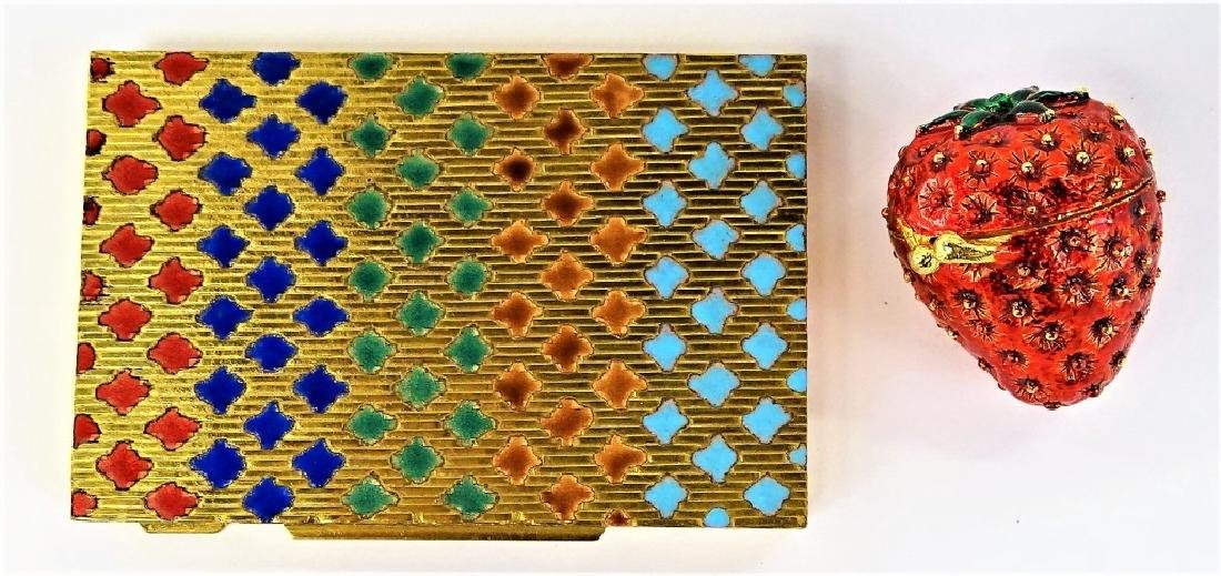 LOT OF 2 VTG ITALIAN ENAMELED GOLDTONE METAL CASES