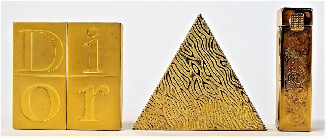 LOT OF 3 VINTAGE GOLDTONE METAL VANITY ITEMS
