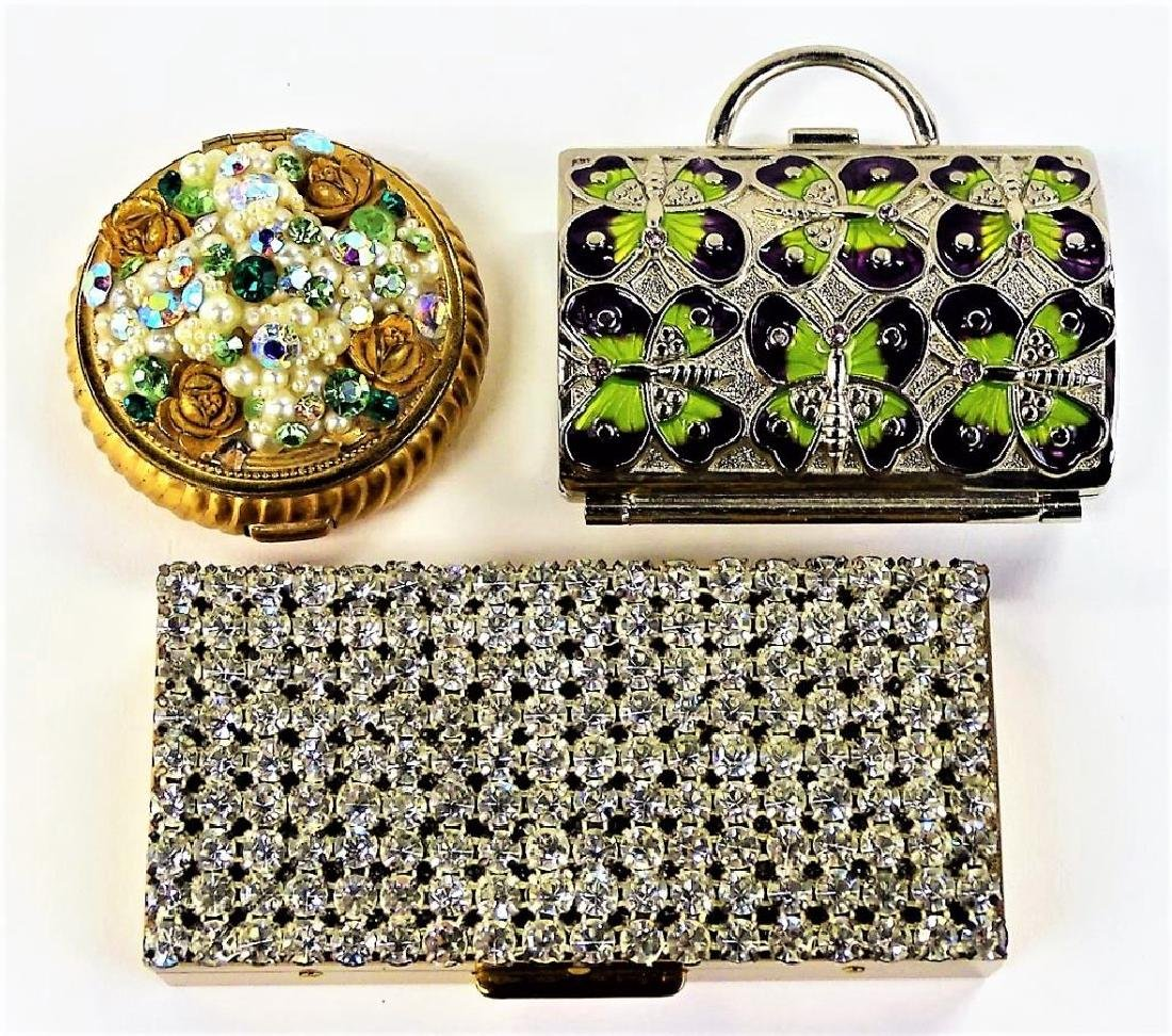 LOT OF 2 VINTAGE JEWELED METAL BOXES & 1 COMPACT
