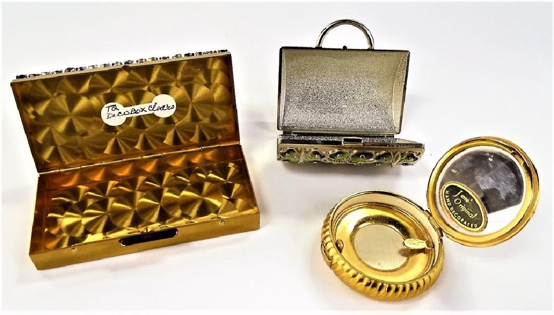 LOT OF 2 VINTAGE JEWELED METAL BOXES & 1 COMPACT - 2