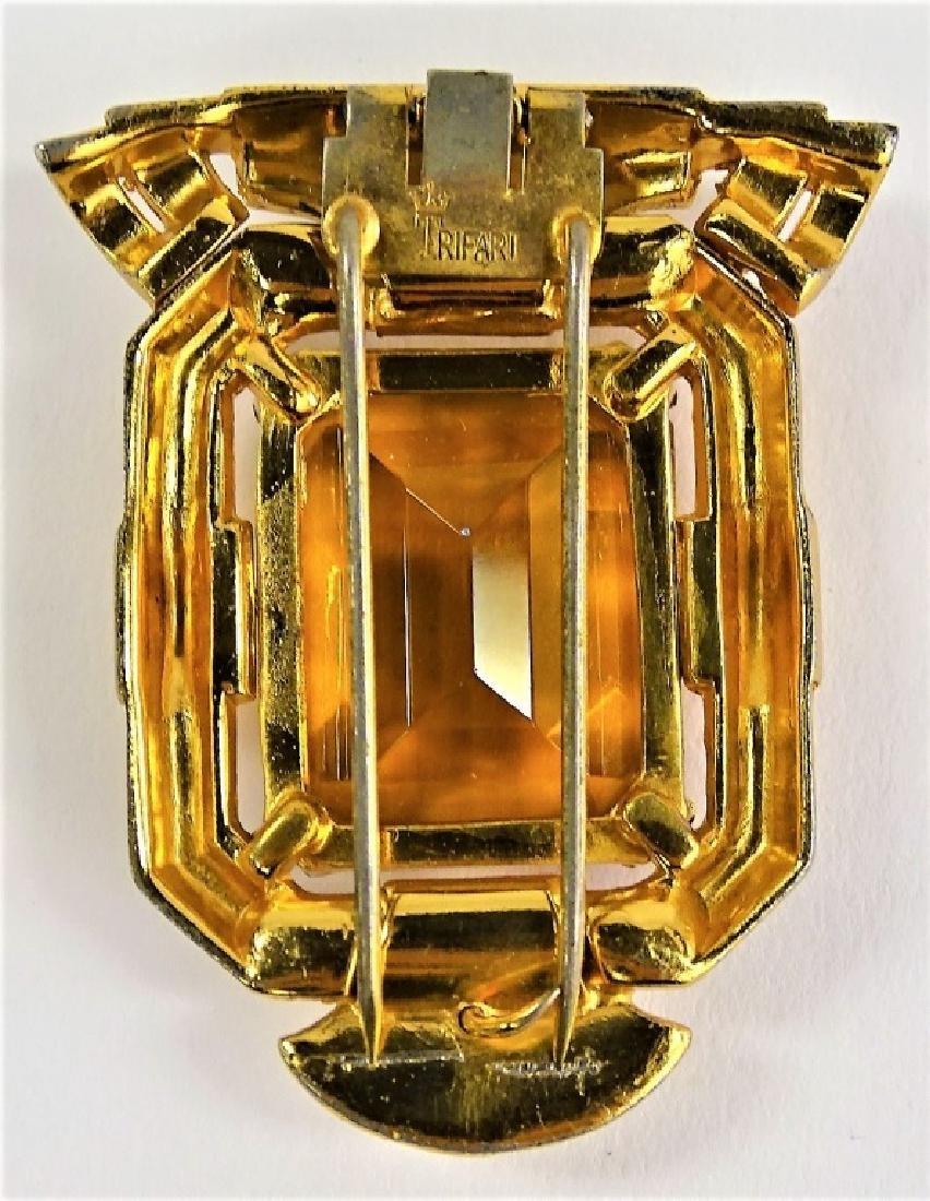 TRIFARI DECO GOLD TONE FAUX CITRINE FUR CLIP - 2