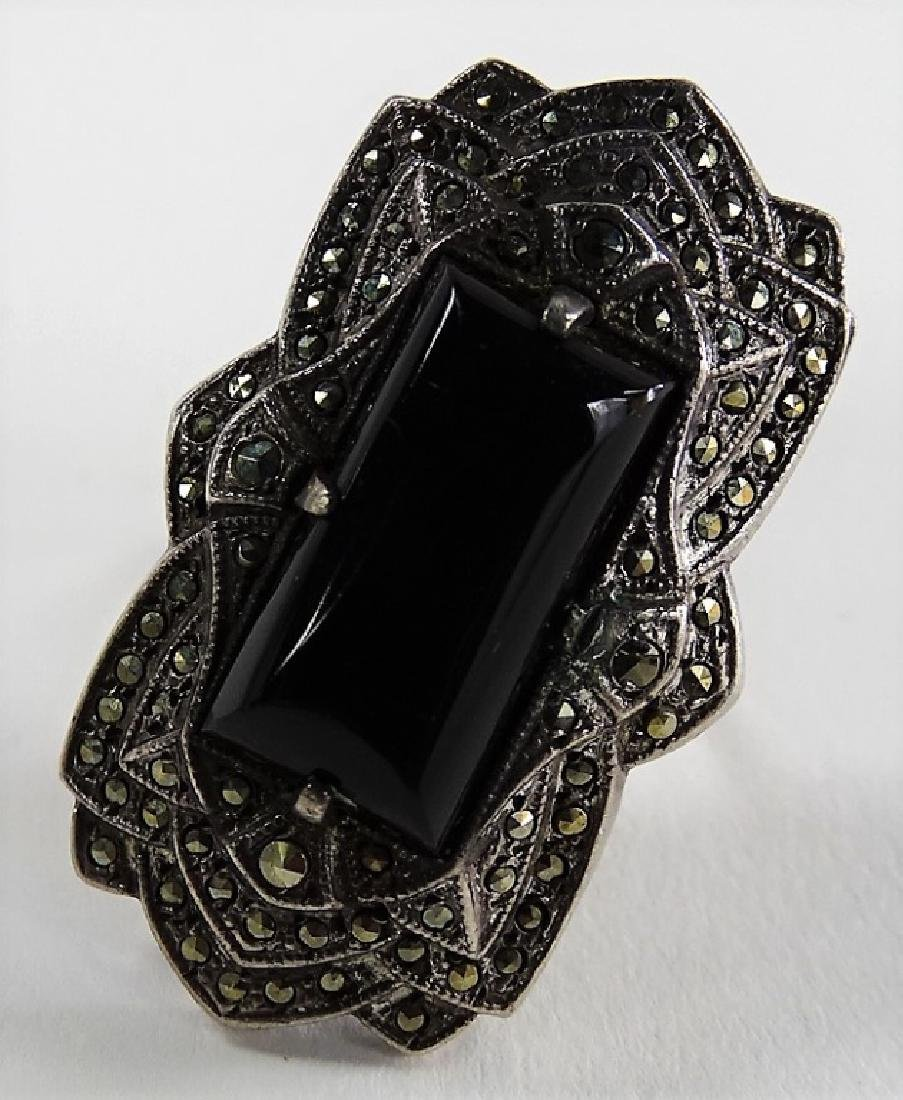 BEAUTIFUL DECO STERLING W/ MARCASITE & ONYX RING