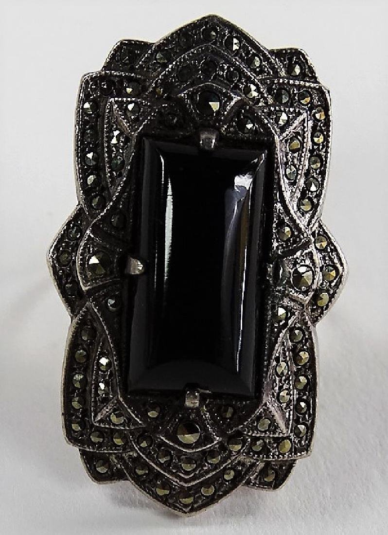 BEAUTIFUL DECO STERLING W/ MARCASITE & ONYX RING - 2