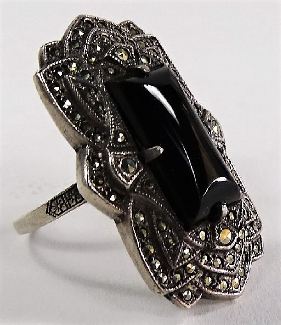 BEAUTIFUL DECO STERLING W/ MARCASITE & ONYX RING - 3