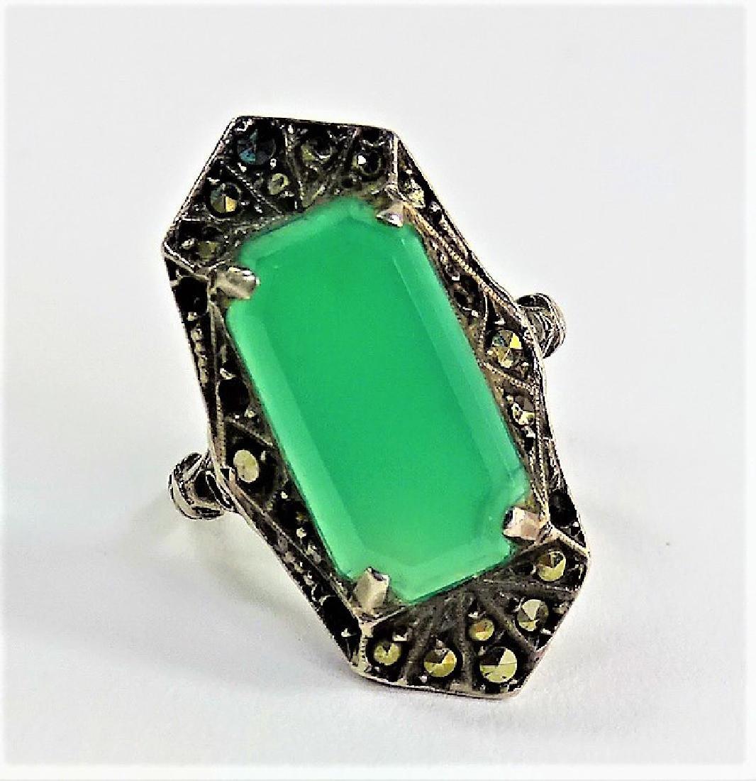 DECO GERMAN STERL W/ MARCASITE & CHRYSOPR. RING