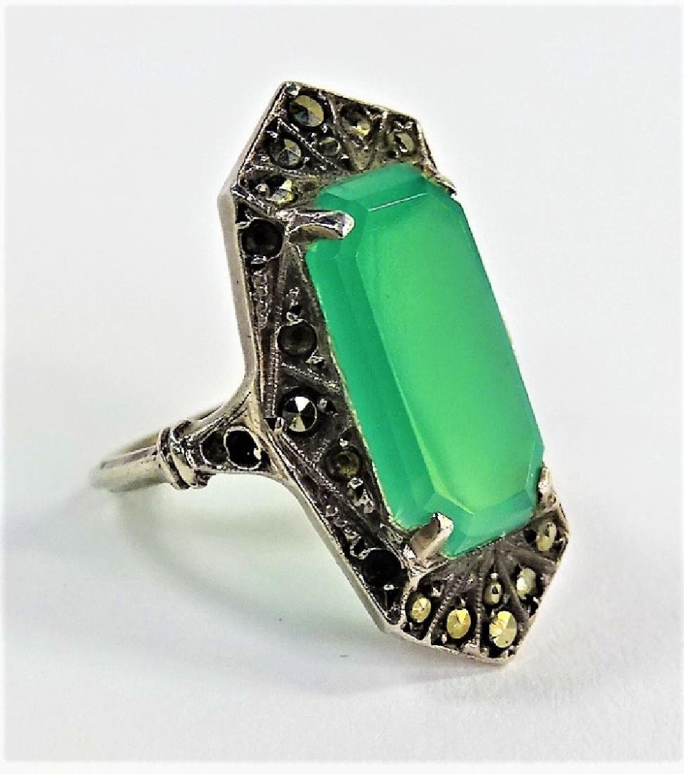 DECO GERMAN STERL W/ MARCASITE & CHRYSOPR. RING - 2