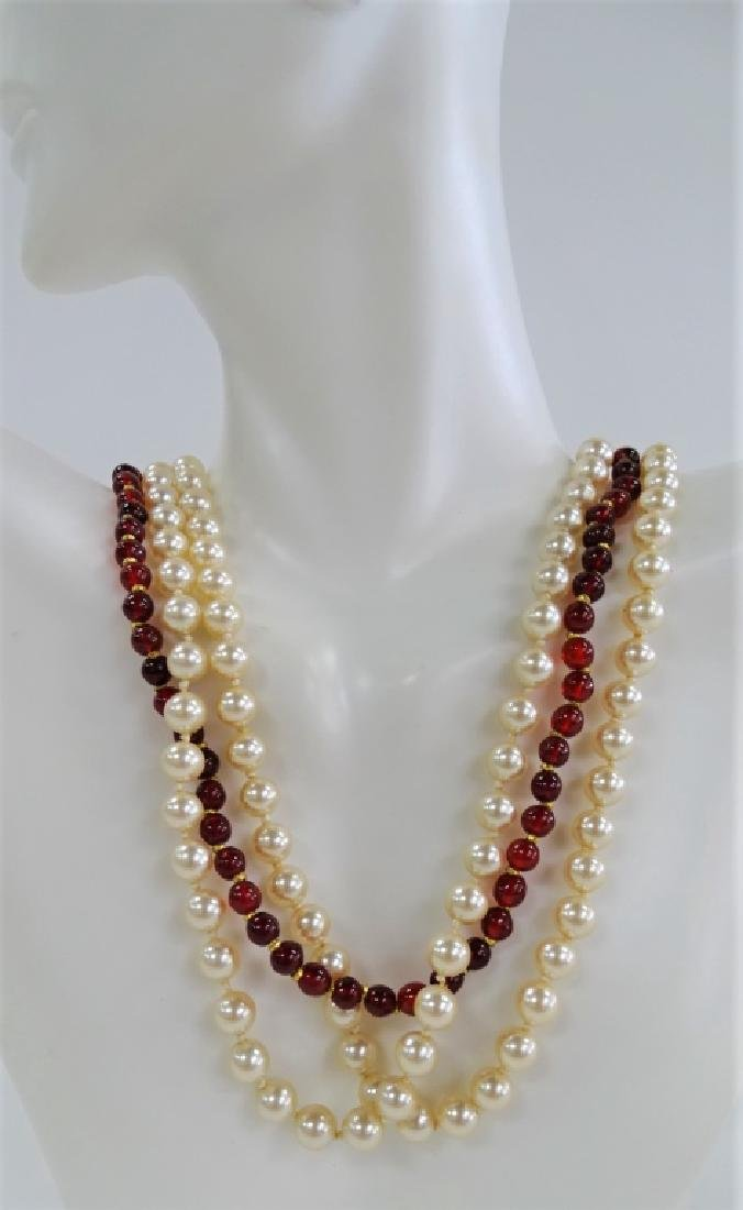 MIRIAM HASKELL TRI-STRAND FAUX PEARL NECKLACE