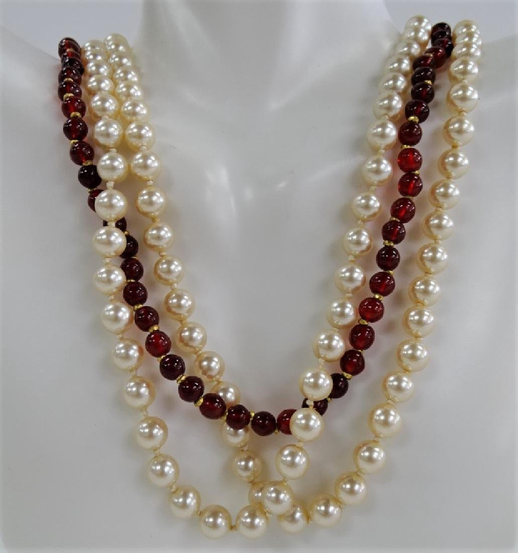 MIRIAM HASKELL TRI-STRAND FAUX PEARL NECKLACE - 2
