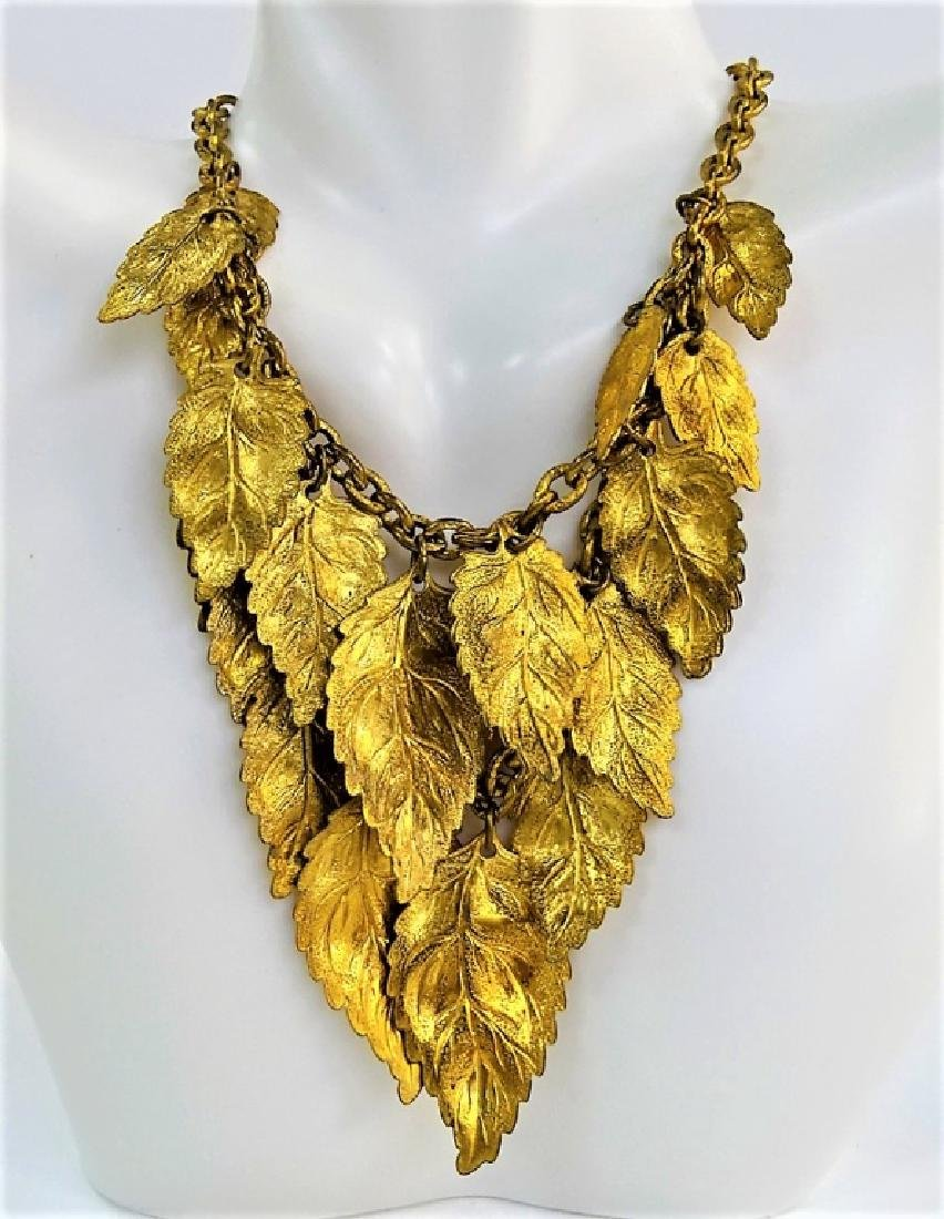 VINTAGE HASKELL STYLE GLD TN LEAVES NECKLACE