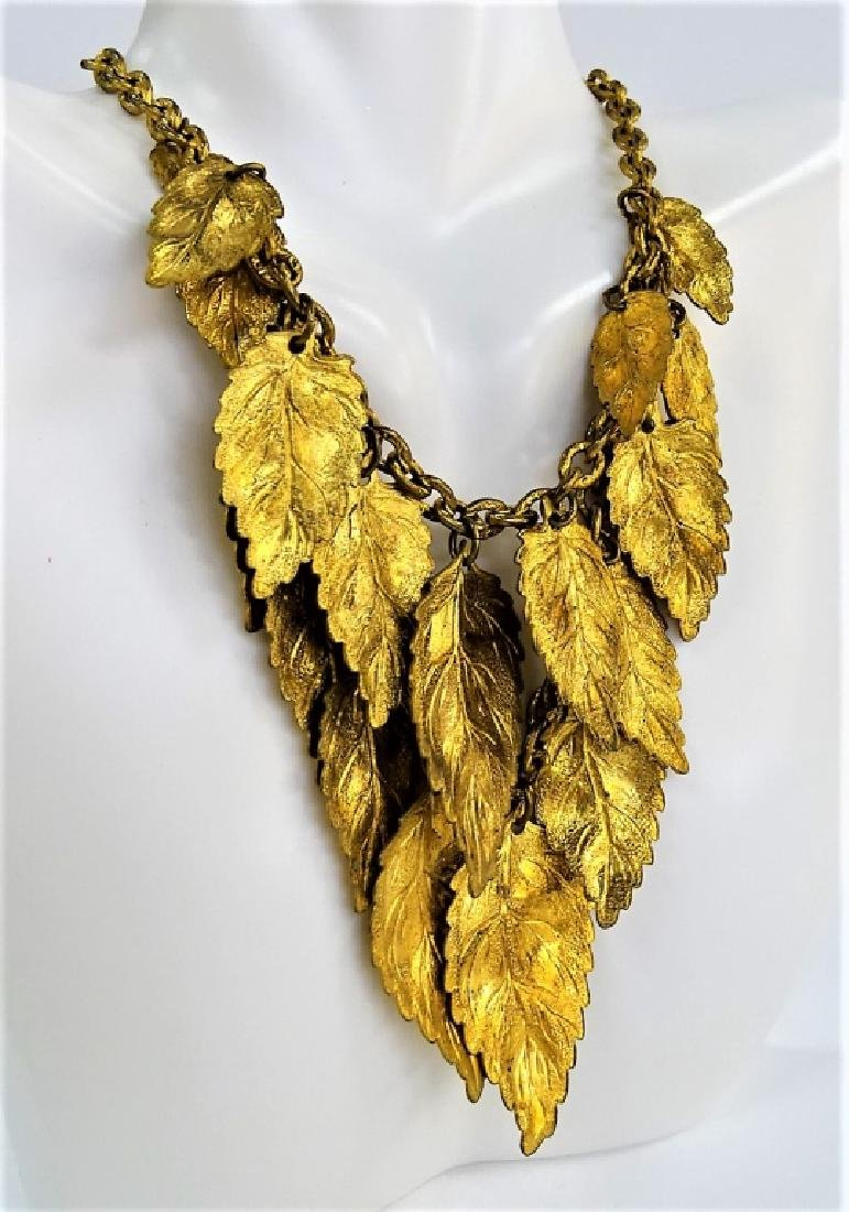 VINTAGE HASKELL STYLE GLD TN LEAVES NECKLACE - 2