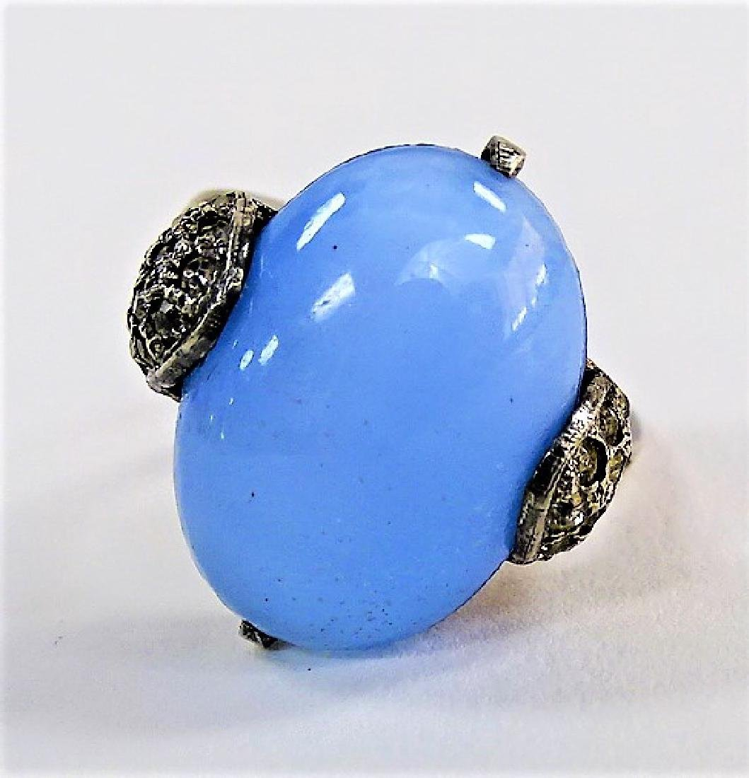 DECO STERLING W/ FAUX MOONSTONE AND MARCASITE RING