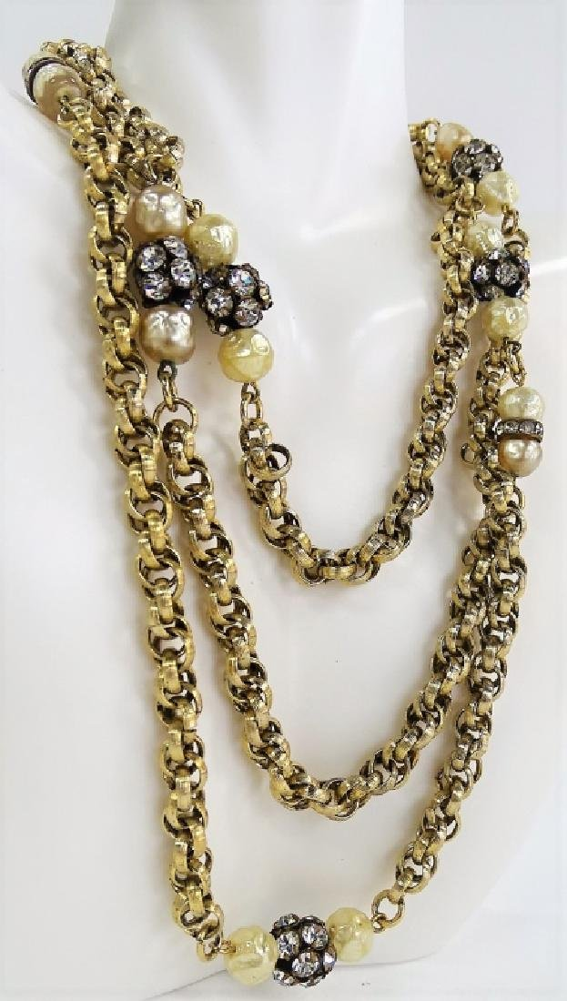 VINTAGE GLD TN W/ FAUX PEARL ELONGATED NECKLACE - 2