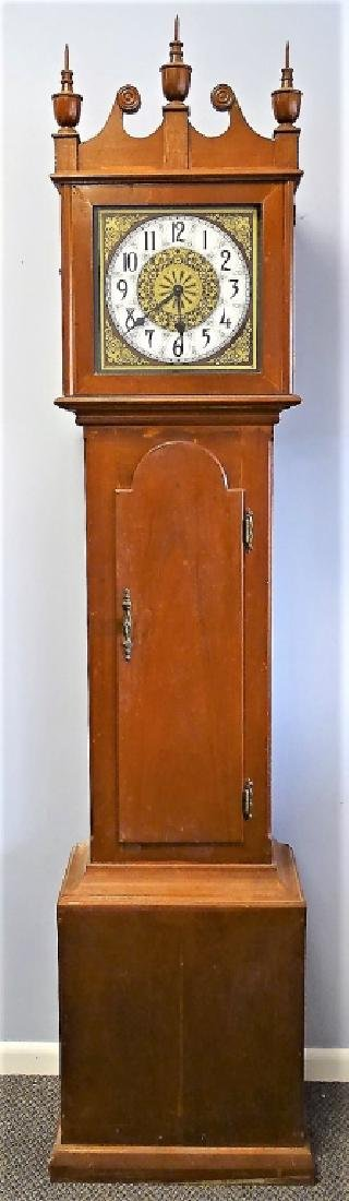 EARLY 20TH C. AMERICAN TALL MAHOGANY CASE CLOCK