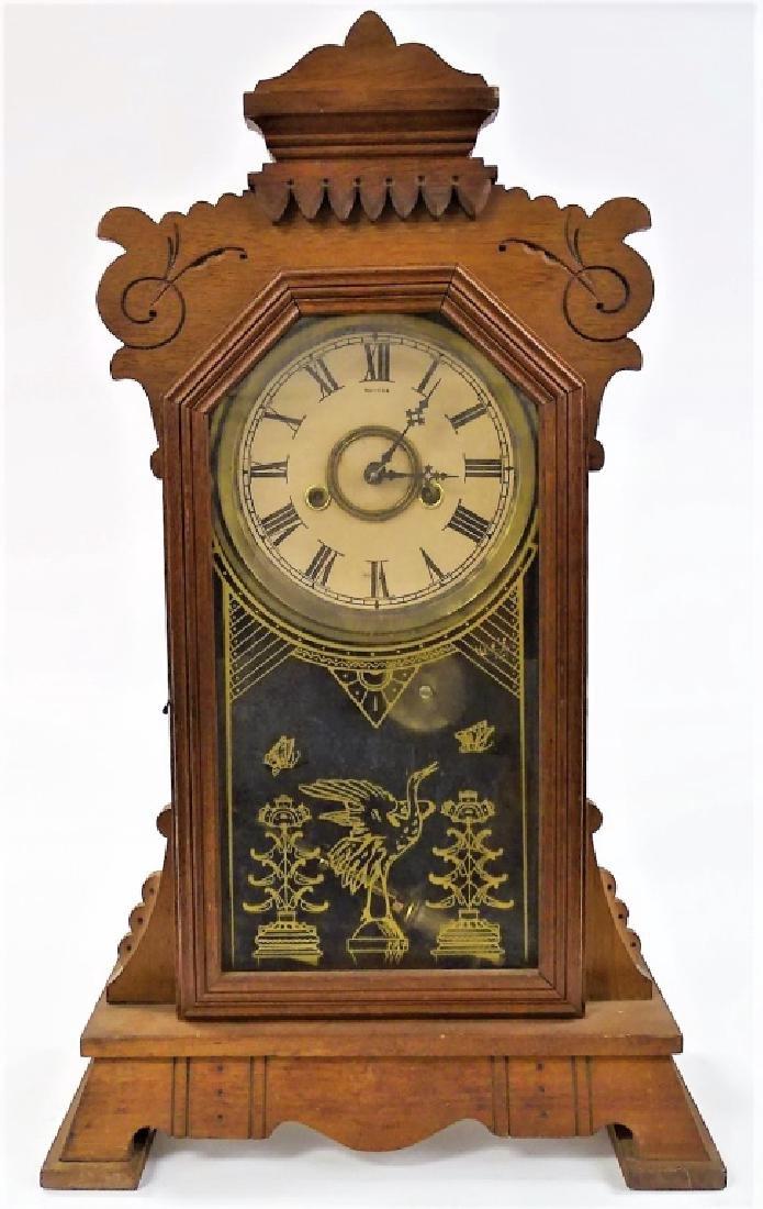 19TH C. AMERICAN CARVED WALNUT CASE SHELF CLOCK