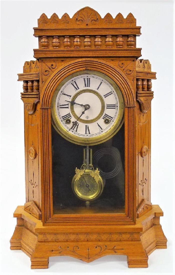 MID 19TH C. GILBERT WALNUT CASE KITCHEN CLOCK