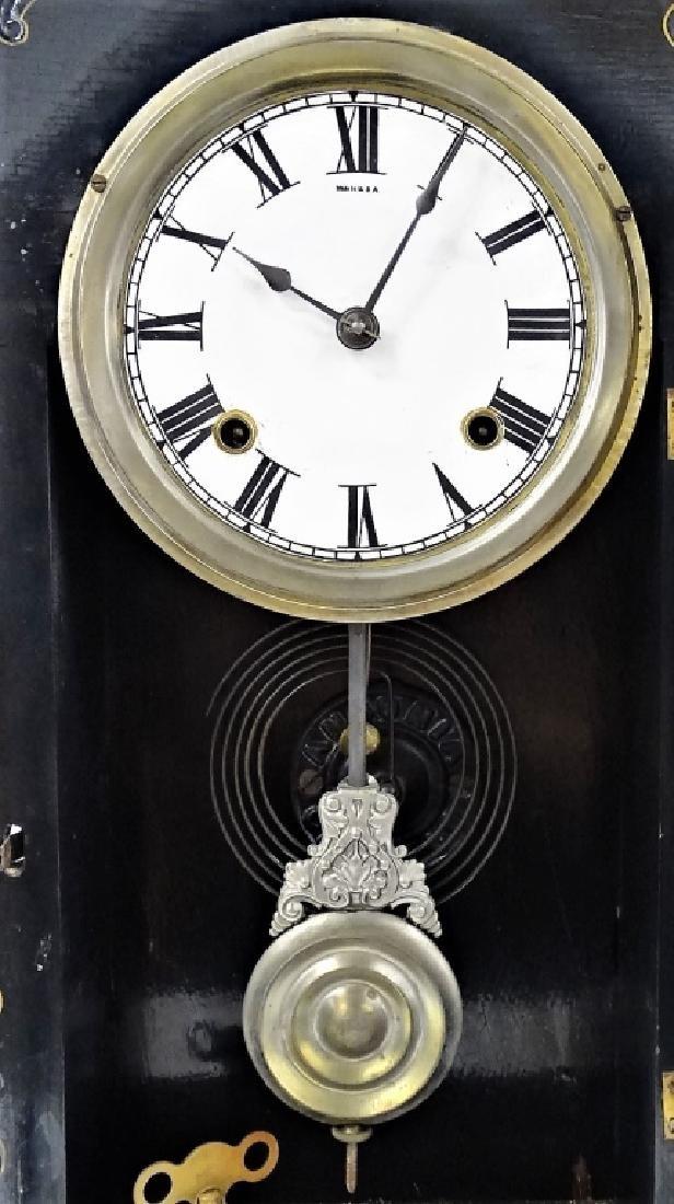 19TH C. AMERICAN CARVED JET CASE SHELF CLOCK - 2