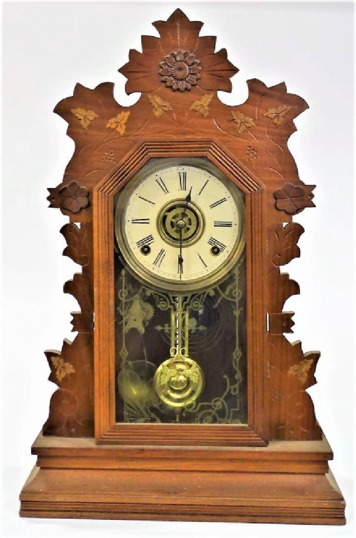19TH C. GILBERT CARVED OAK CASE KITCHEN CLOCK