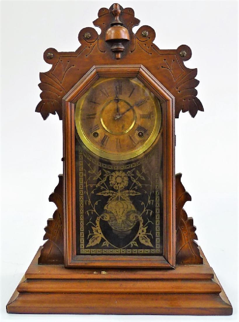 20TH C. INGRAHAM CARVED OAK CASE KITCHEN CLOCK