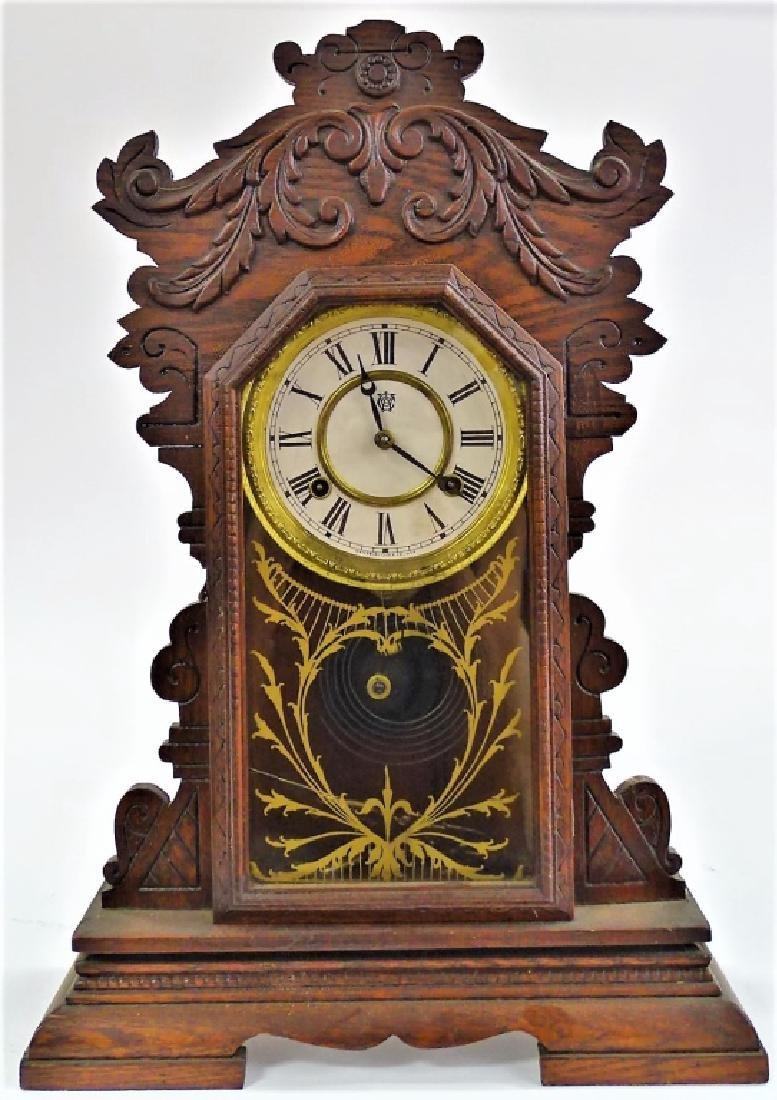 EARLY 20TH C. WATERBURY OAK CASE KITCHEN CLOCK