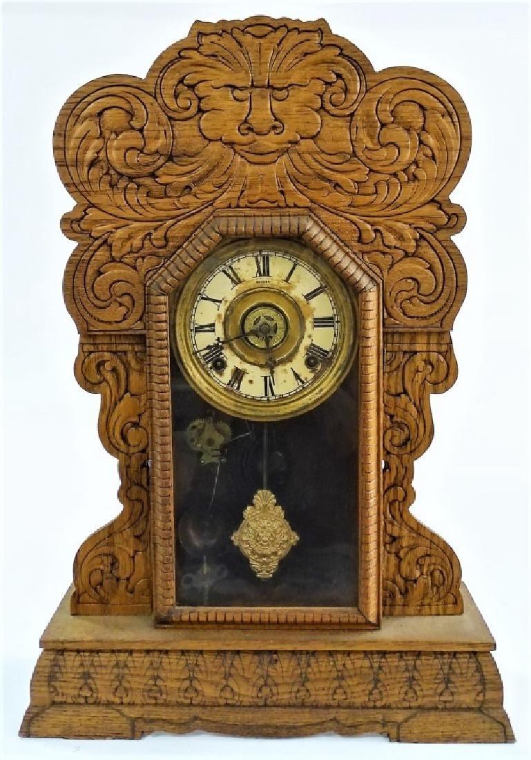 ANTIQUE AMERICAN CARVED OAK GINGERBREAD CLOCK
