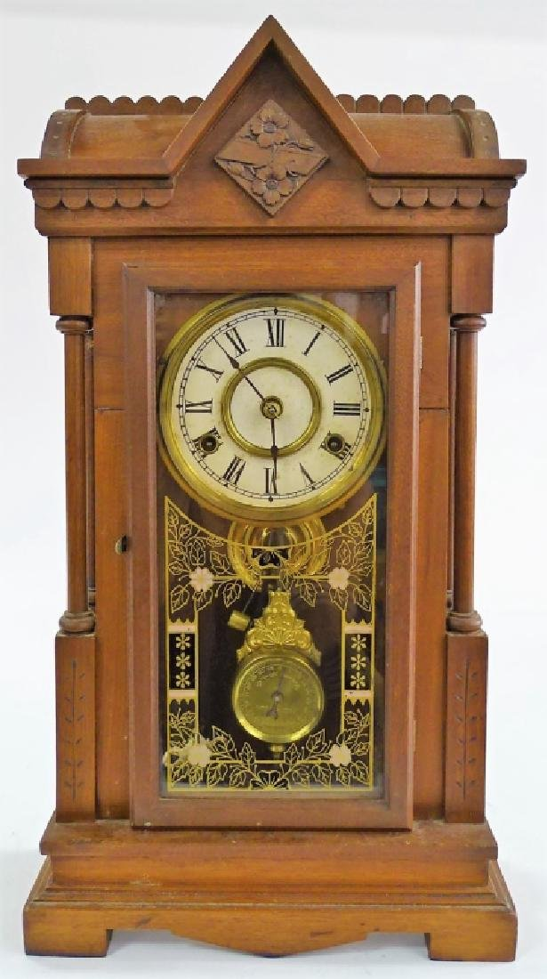 19TH C. AMERICAN CARVED MAHOGANY CASE SHELF CLOCK
