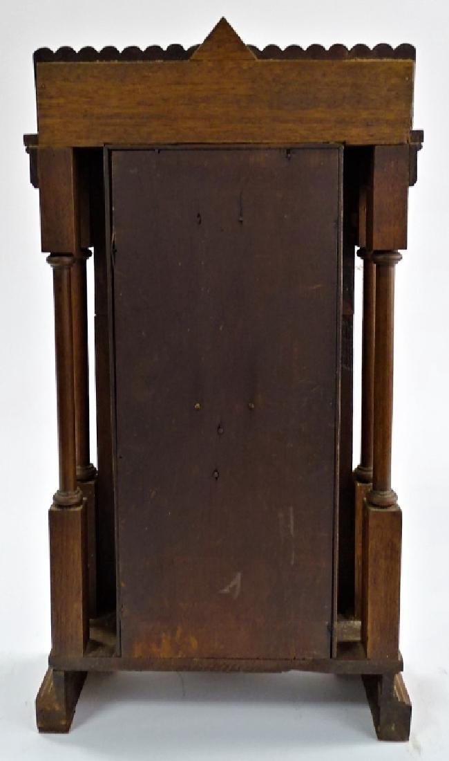 19TH C. AMERICAN CARVED MAHOGANY CASE SHELF CLOCK - 4