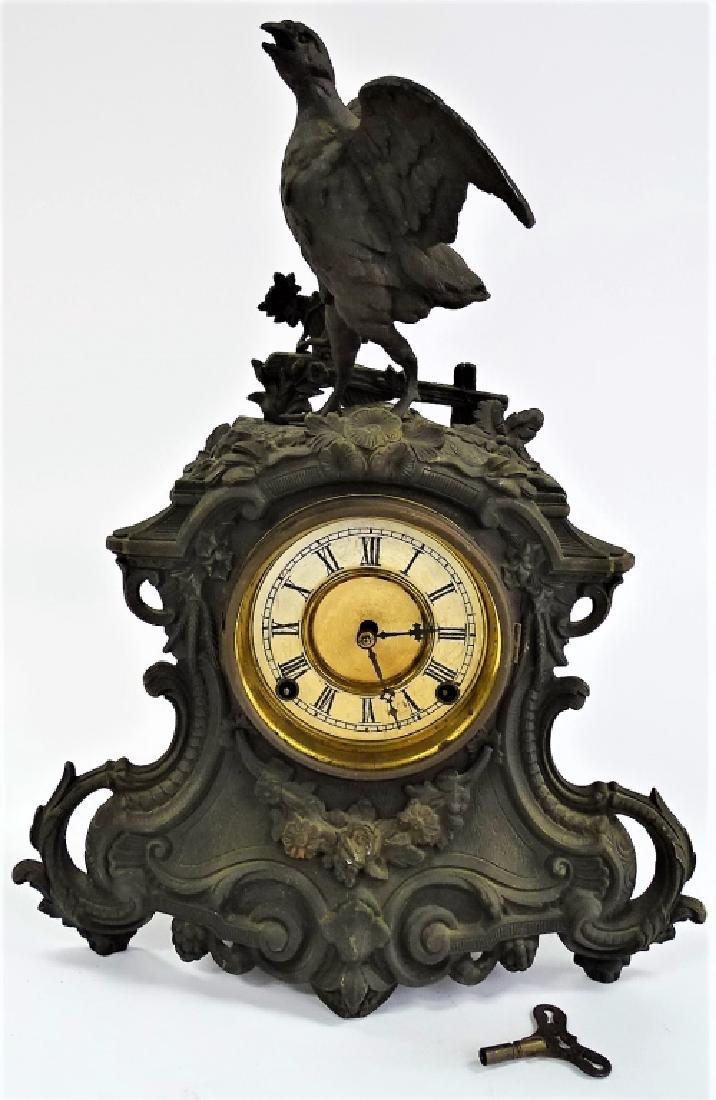 19TH C. AMERICAN SPELTER GAME BIRD MANTEL CLOCK