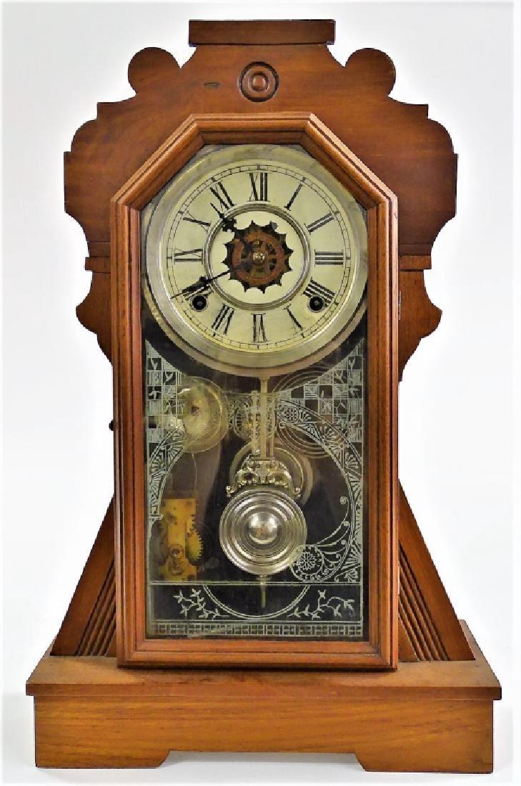 19TH C. AMERICAN MAHOGANY CASE KITCHEN CLOCK