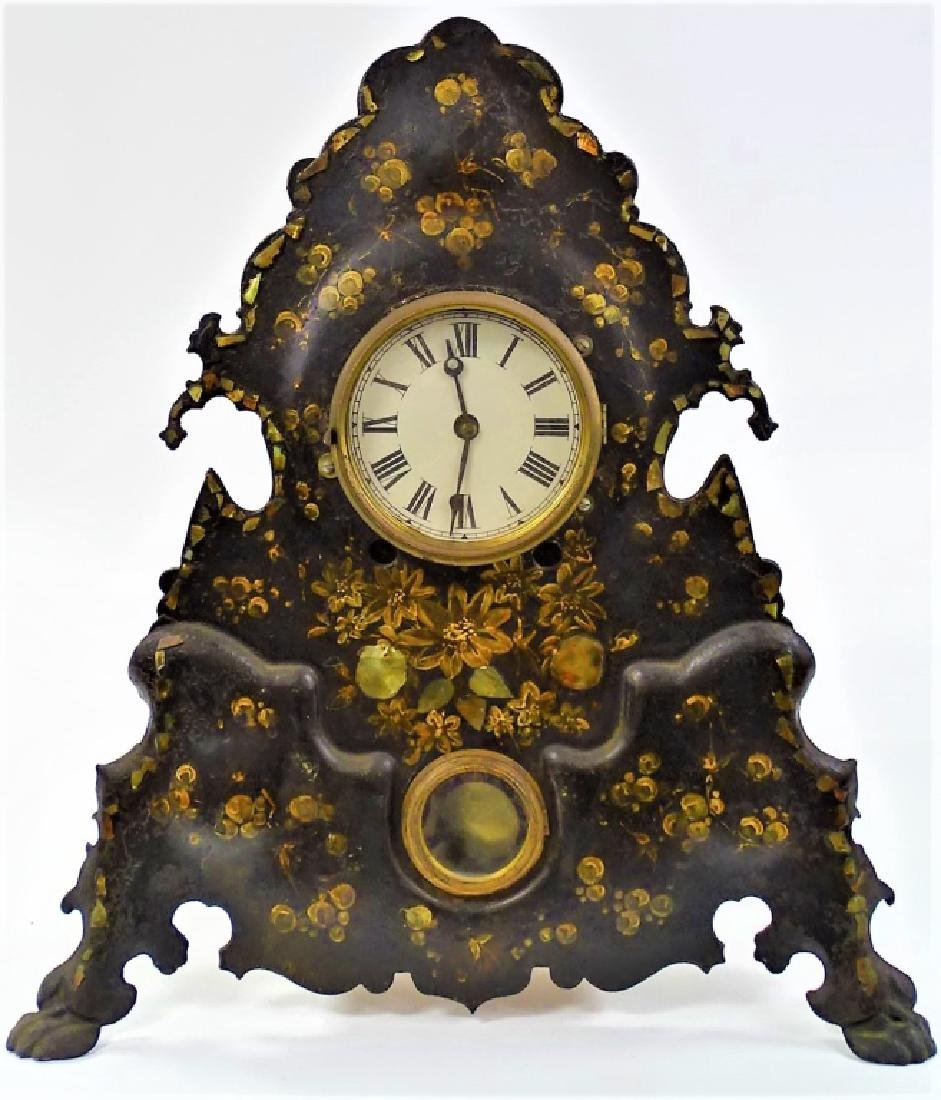 VICTORIAN DECORATED IRON FRONT MANTEL CLOCK