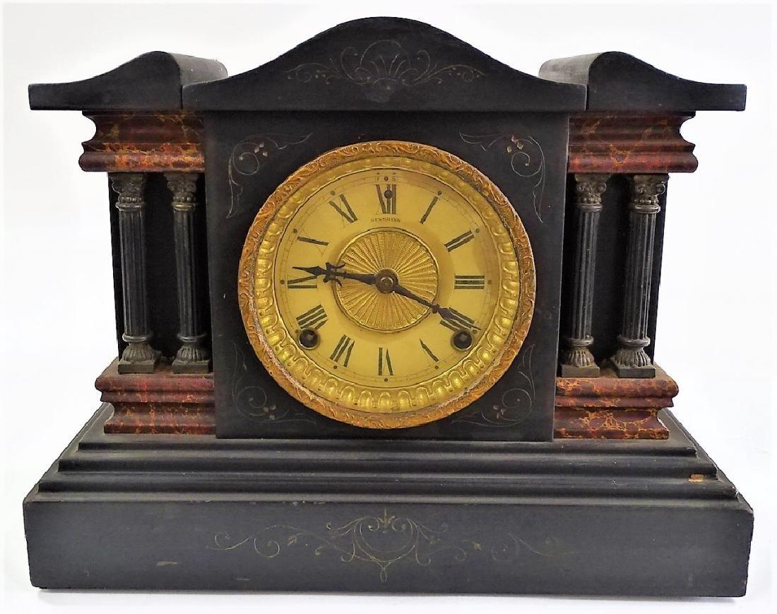 EARLY 20TH C. SESSIONS EBONIZED CASE MANTEL CLOCK