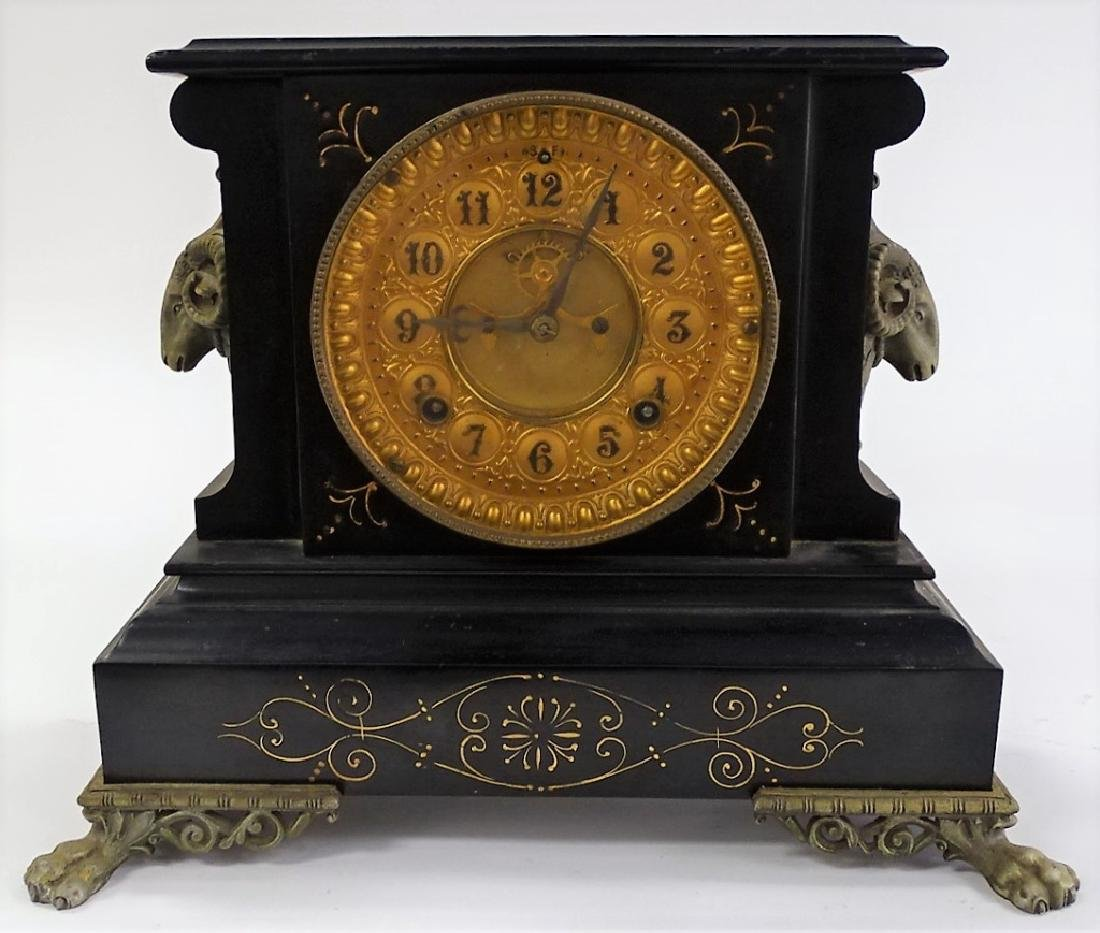 19TH C. ANSONIA ENAMELED IRON MANTEL CLOCK