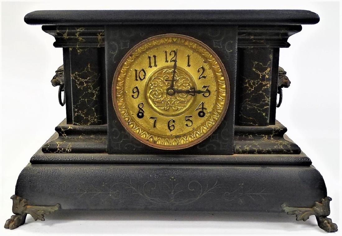 ANTIQUE E. INGRAHAM EBONIZED WOOD MANTEL CLOCK