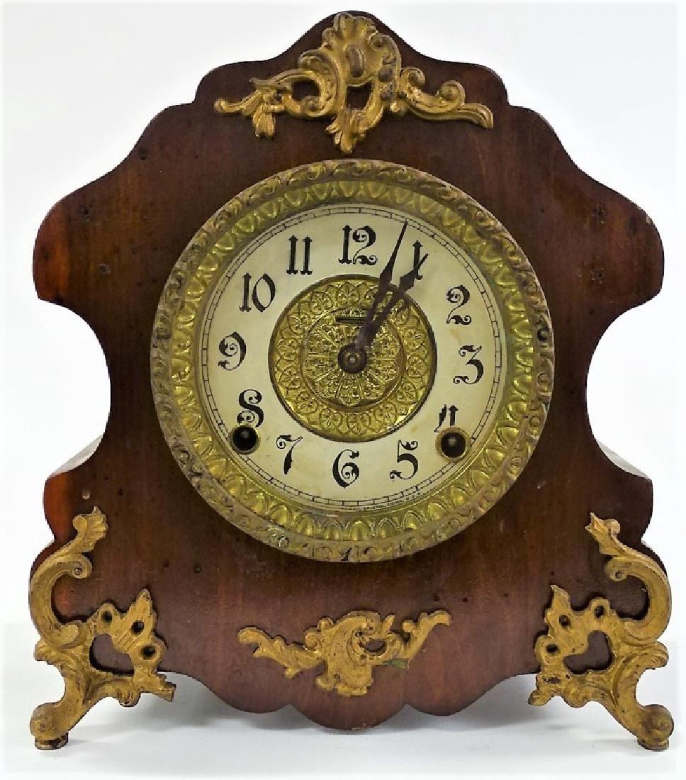 ANTIQUE E. INGRAHAM MAHOGANY ROCOCO MANTEL CLOCK