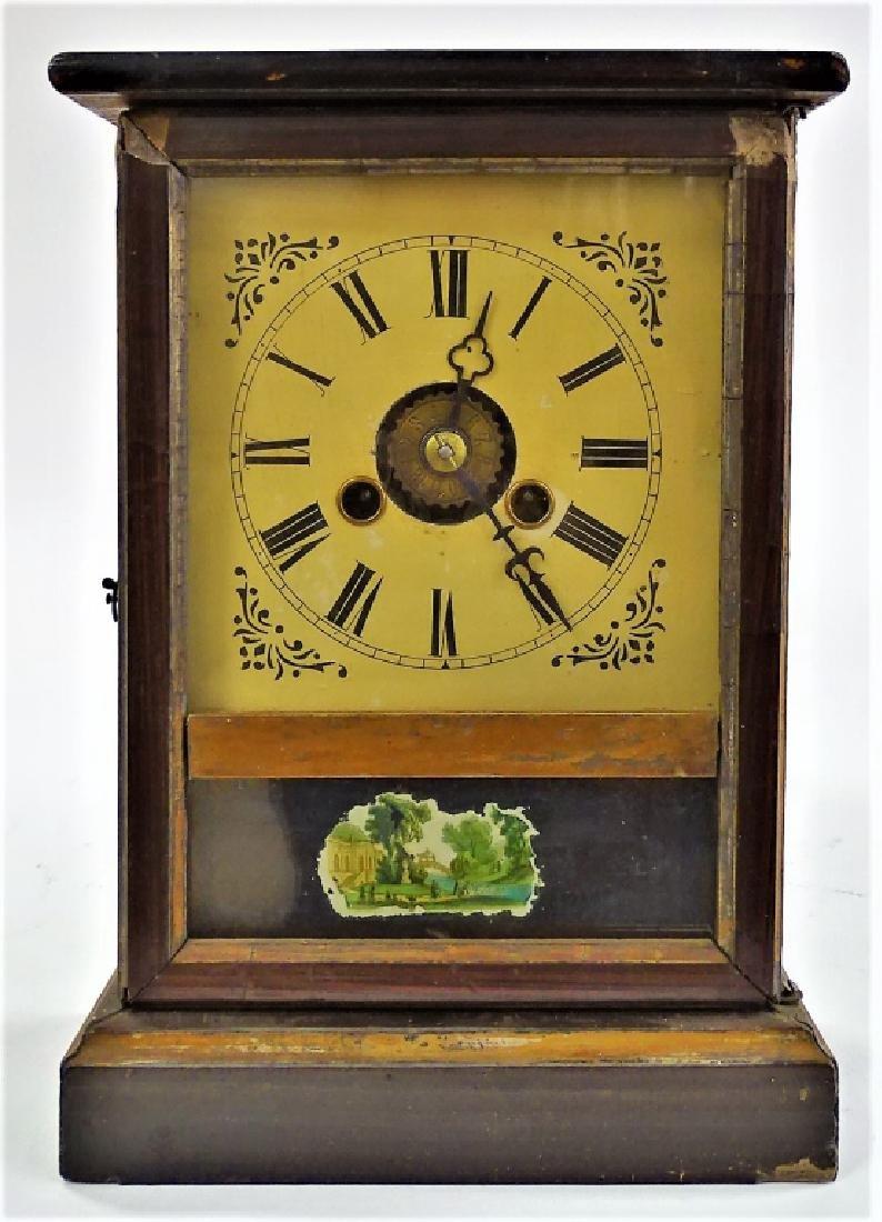 19TH C. AMERICAN WALNUT CASE SHELF CLOCK