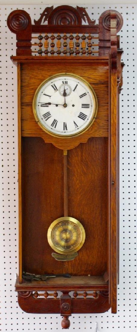 ANTIQUE AMERICAN OAK CASE REGULATOR WALL CLOCK