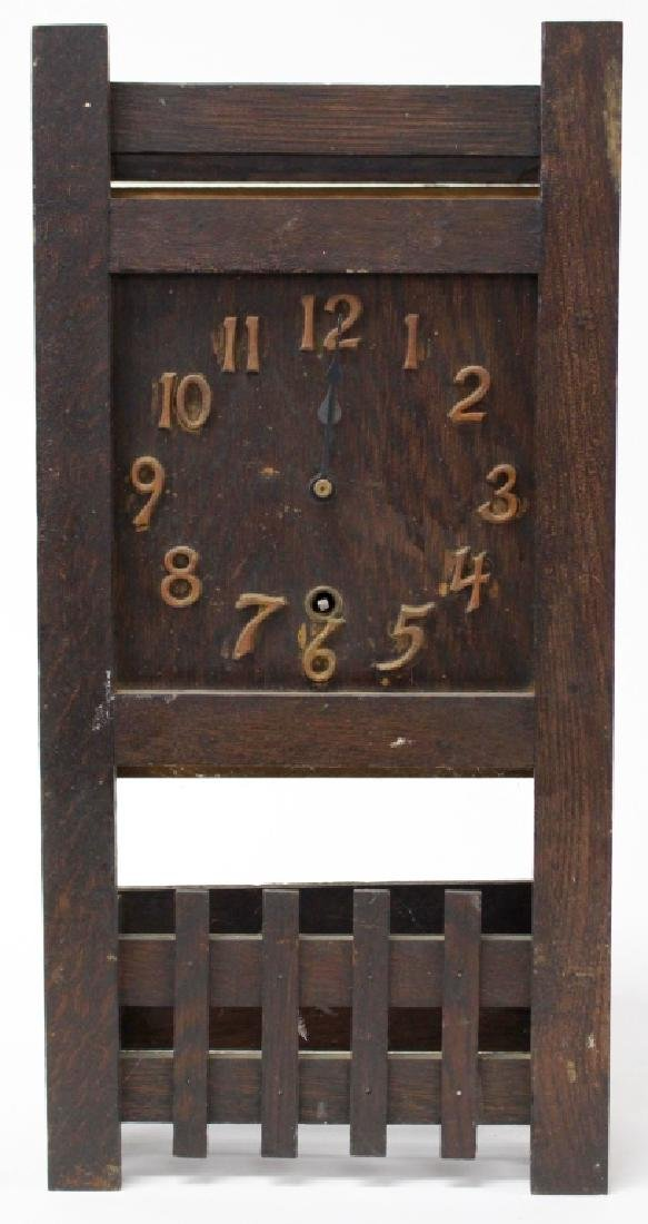 ANTIQUE AMERICAN MISSION OAK MANTEL CLOCK