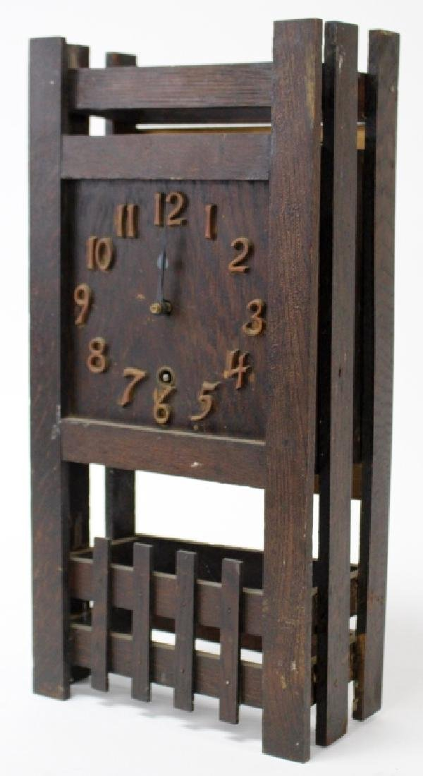 ANTIQUE AMERICAN MISSION OAK MANTEL CLOCK - 2