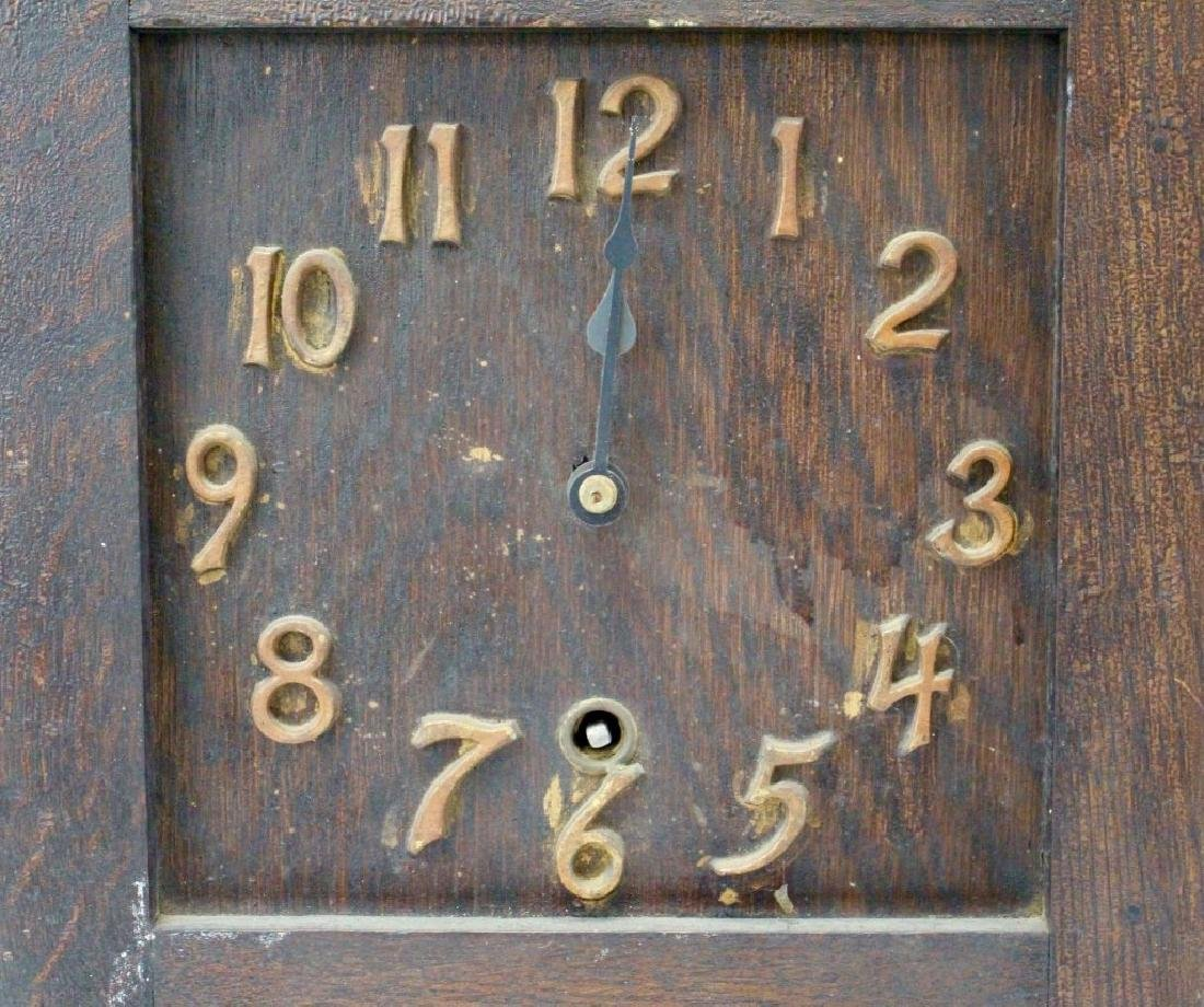 ANTIQUE AMERICAN MISSION OAK MANTEL CLOCK - 3