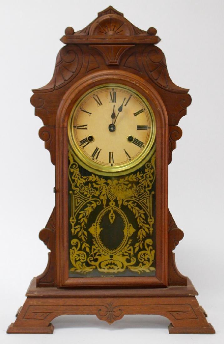 ANTIQUE AMERICAN MAHOGANY CASE KITCHEN CLOCK