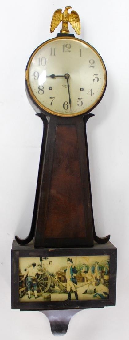 ANTIQUE GILBERT '1807' WALNUT CASE BANJO CLOCK