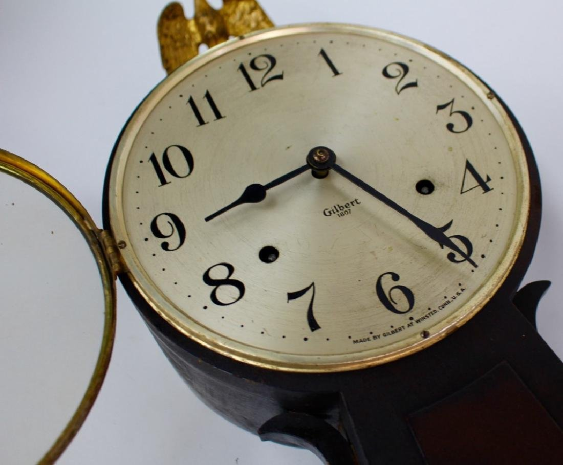 ANTIQUE GILBERT '1807' WALNUT CASE BANJO CLOCK - 2