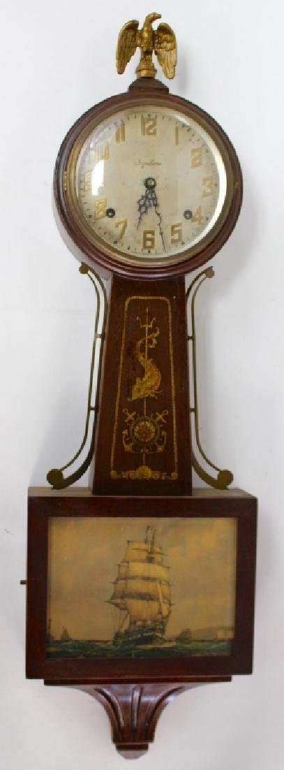 ANTIQUE INGRAHAM WALNUT CASE BANJO CLOCK