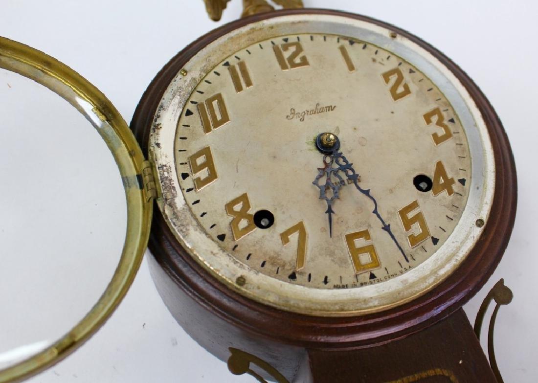 ANTIQUE INGRAHAM WALNUT CASE BANJO CLOCK - 2