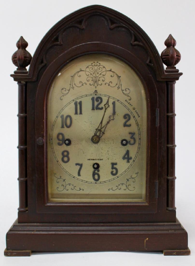 HERSCHEDE 'MODEL 20' MAHOGANY CASE MANTEL CLOCK