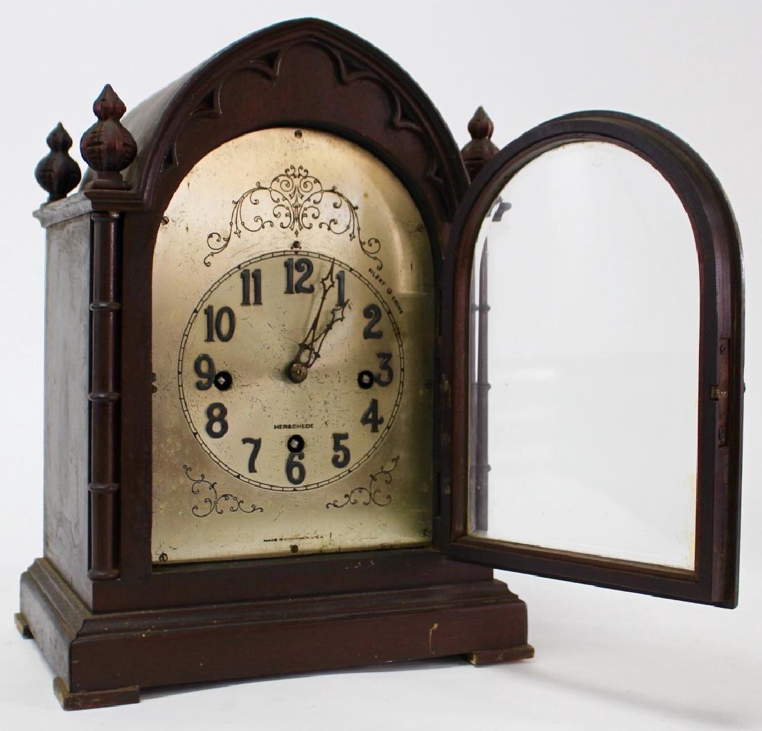HERSCHEDE 'MODEL 20' MAHOGANY CASE MANTEL CLOCK - 2