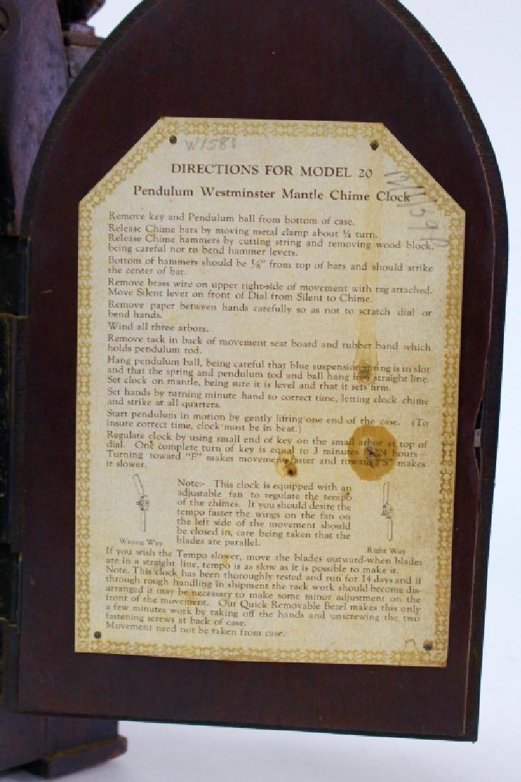 HERSCHEDE 'MODEL 20' MAHOGANY CASE MANTEL CLOCK - 7